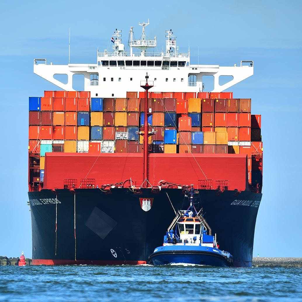 Zeeschip met containers loodsboot